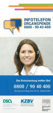 "Info-Flyer ""Infotelefon Organspende"" (mit Organspendeausweis nach § 2 Transplantationsgesetz)"