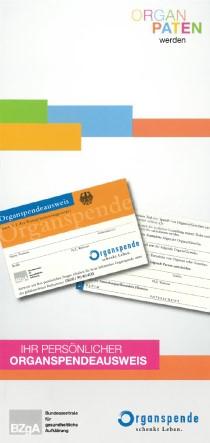 """Info-Flyer """"Ihr persönlicher Organspendeausweis"""" (mit Organspendeausweis nach § 2 Transplantationsgesetz)"""